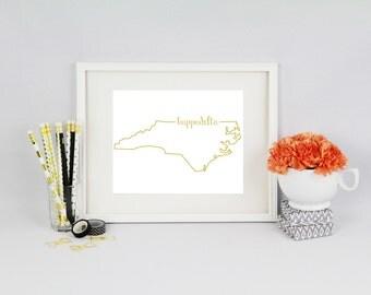 North Carolina Sorority Foil Prints // North Carolina State Outline // Sorority Prints // Foil Sorority Print