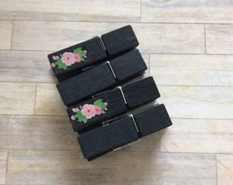 La Fluer Clothespins - Black Floral Set