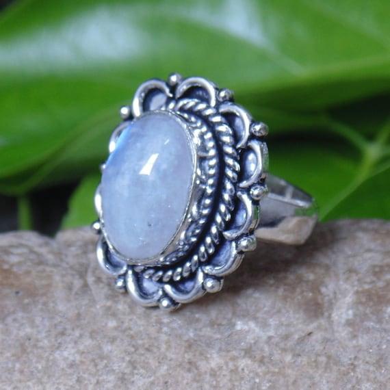 Moonstone Rainbow Ring Natural Gemstone Ring Indian