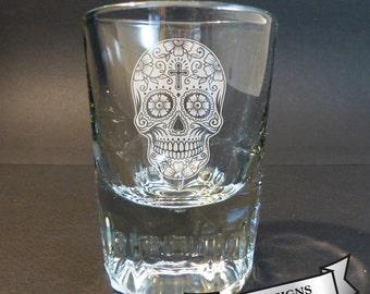Sugar Skull Engraved Whiskey Shot Glass, Day of the Dead, El Dia de Los Muertos, 4 Designs Available