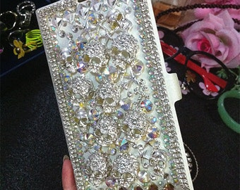 New Bling Flip Slot Cards Holder Silver Skull Wallet Leather Gems Crystals Rhinestones Diamonds Fashion Cover Case for Various Mobile Phones