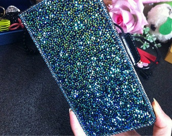 Bling Navy Blue Sparkles Flip Slot Cards Holder Luxury Wallet Leather Gems Crystals Rhinestones Diamonds Fashion Cover Case for Mobile Phone