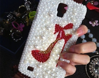 New Bling Pearls Charms Sparkles Girly High-heeled shoes Crystals Rhinestones Diamonds Gems Fashion Lovely Hard Cover Case for Mobile Phones