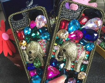 Bling Luxury Metal 3D Elephant Sparkles Colorized Gems Crystals Rhinestones Diamonds Charms Fashion Lovely Hard Cover Case for Mobile Phones