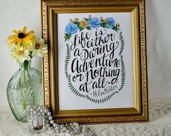 Hand-lettered Helen Keller adventure quote