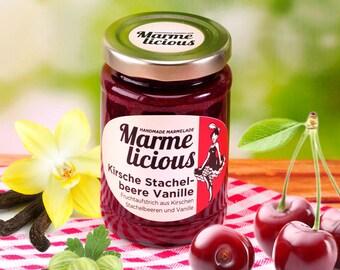Cherry gooseberry vanilla fruit spread