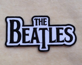 The Beatles Band Iron On Patch #White With Black