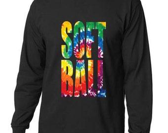Tie Dye Softball Classic Design Long Sleeve T-Shirt Men All Sizes - All Colors (164)