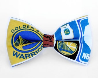 Golden State Warriors Bow Tie, NBA, Gift for Him, Gifts for Husband, Coach Gift, Gift for Coach, Basketball Bow Tie, Kids Basketball Bow Tie