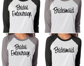 Bridesmaid Baseball Shirts. Super soft and comfortable bridesmaid shirts. Bachelorette Party shirts. Bridal Party Baseball Shirts.