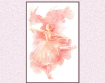 Dancing ballerina in blush pink watercolor painting, ballet dancer instant download A3 11x17 poster Downloadable whimsical art dance tabloid