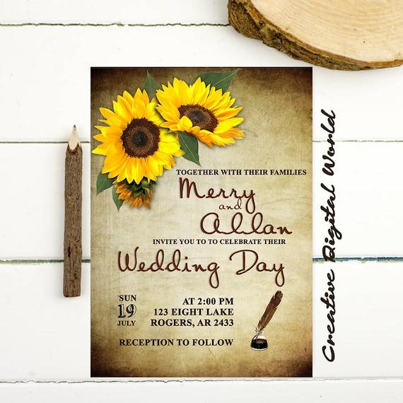 Items Similar To Sunflowers Wedding Invitation Printable