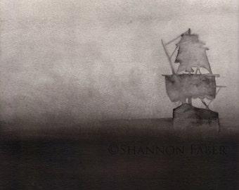 Foggy Ship - ink illustration print