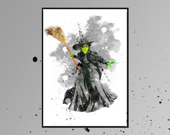 Wicked Witch of Oz  Wizard of Oz  watercolor art for children room  A784