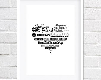 "Large A3 print ""Best friends forever"". Black and white heart print."
