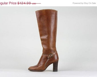 ON SALE Vintage 80s Tall Knee Distressed Brown Leather Boots Equestrian Stacked Heel 7