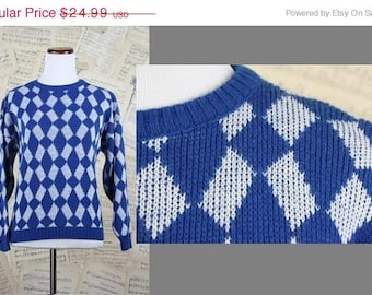 ON SALE Vintage 80s Diamond Argyle Geometric Digital Nerd Knit M
