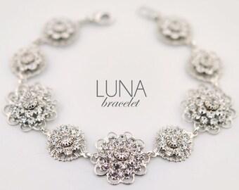 Vintage style wedding bracelet - crystal bridal bracelet - statement bracelet - wedding jewelry - Luna bracelet