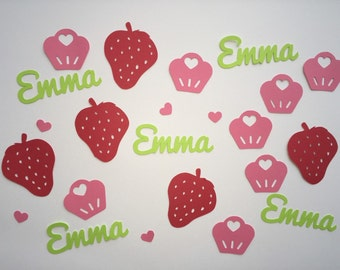 Personalized Strawberry Shortcake Confetti - Girls Birthday Party Strawberries, Name, and Cupcakes in Red, Lime Green and Pink