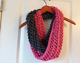 Hand knitted, pink and grey, infinity scarf.