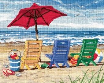 Dimensions Needlepoint Kit - Beach Chair Trio Pillow #72-120022