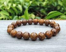 Elephant blood stone bracelet, Natural yellow dark red gemstone bracelet, perfect Father's day gift, elephant skin stone