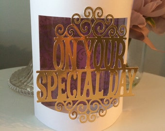 Handmade 3D Curved gold foiled Special Day Wedding Card