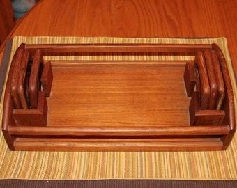 Baker Hart & Stuart Genuine TEAK serving tray with coasters
