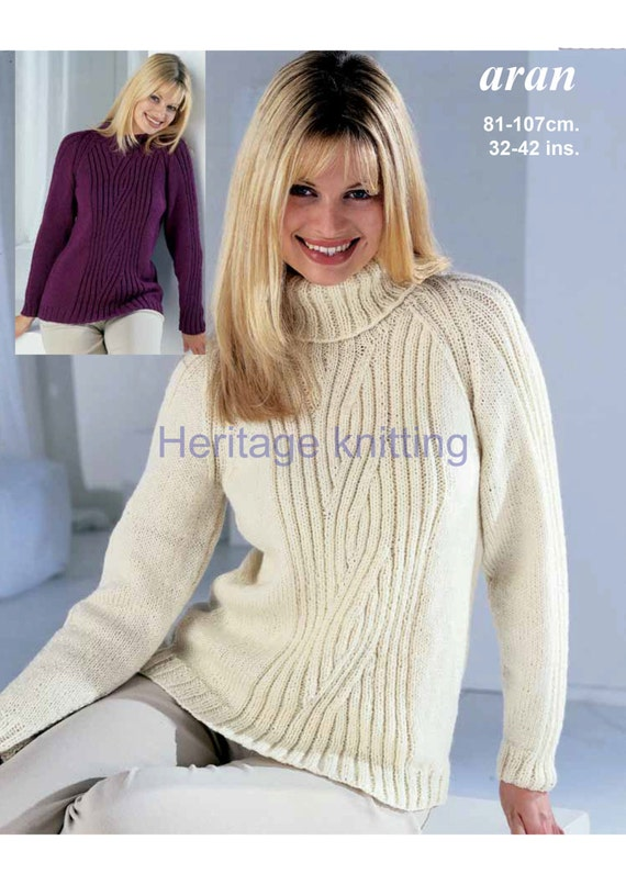 Knitting Pattern Women s Sweater : womens ladies sweater crew or polo neck aran knitting pattern