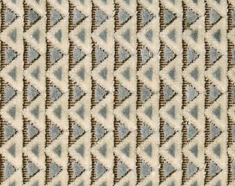 POLLACK MOSAIC Plush Cut Velvet Art Deco Nouveau UPHOLSTERY Fabric 5 Yards Cracked Ice Blue