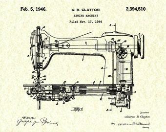 Patent 1944 Singer Sewing Machine Art Print - Poster Print - Wall Art - Seamstress Art - Sewing Room Art