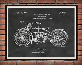 Patent 1919 Harley Motorcycle Patent - Poster - Wall Art - Drawing Illustration - Harley Davidson - Bike - Motor Bike - Hells Angels