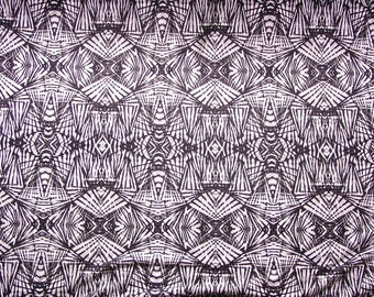 Black white jersey fabric geometric pattern by the metre lightweight