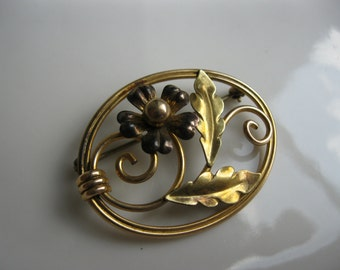Vintage Van Dell 12kt Gold-Filled Pansy Brooch 1940s