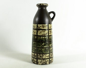 German Pottery, mid century, yellow brown ceramic vase by Strehla, GDR 70s, vintage