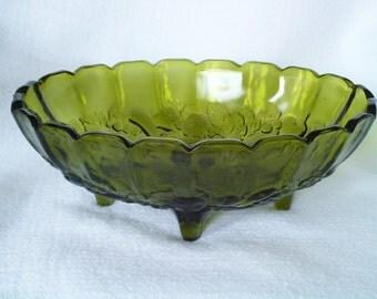 Centerpiece Fruit Bowl - Avocado Green Indiana Glass Harvest Pattern
