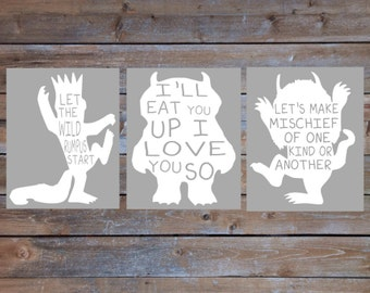 Gray and White Nursery Wall Art Where the Wild Things Are SET Instant Download Digital Signs I'll Eat You Up Let's Make Mischief Rumpus