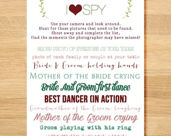 I Spy Wedding Game Card for Wedding Guest Table - New Twist on Traditional I Spy - Disposable Camera or Instagram Hashtag Wedding Photo Game