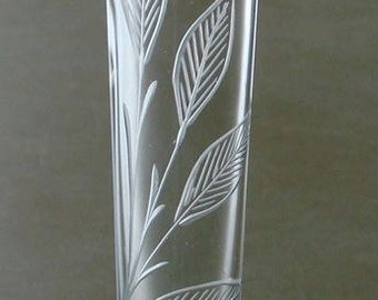 Vase, Hand engraved, Glass vase,clear glass vase, Engraved Glass, Leaves, Hand blown, Hand cut, glass art, art glass,home decor, flower vase