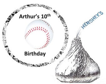Baseball Birthday Party Favor Hershey's Kisses Stickers / Labels -216ct