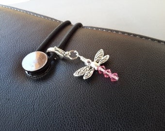 Crystal Dragonfly Purse Dangle Planner Journal Charm Zipper Pull Clip Charm for Bracelets with Lobster Clip Clasp Your Choice of Color