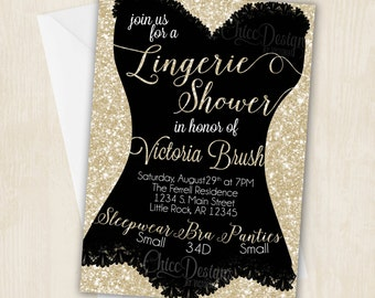 Lingerie Shower Invitation - White Gold - Champagne Color - Bachelorette Party - Invitation - Corset Design - Digital/Printable Design