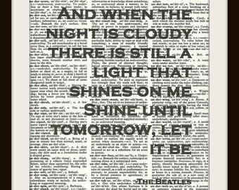 Let it Be Lyrics --The Beatles-- Vintage Dictionary Art Print