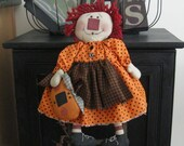 Raggedy Ann Doll - Raggedy Ann With Pumpkin - Fall Decoration