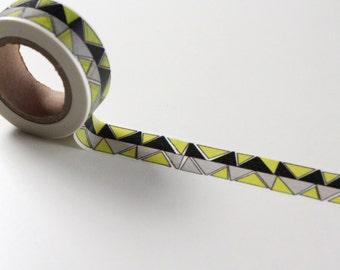 Geometric Washi tape, Planner Pattern gift wrap, Black Yellow Deco crafting tape