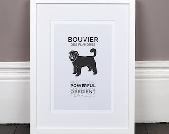 Bouvier Print Gift Picture Art Artwork Illustration Text Typography