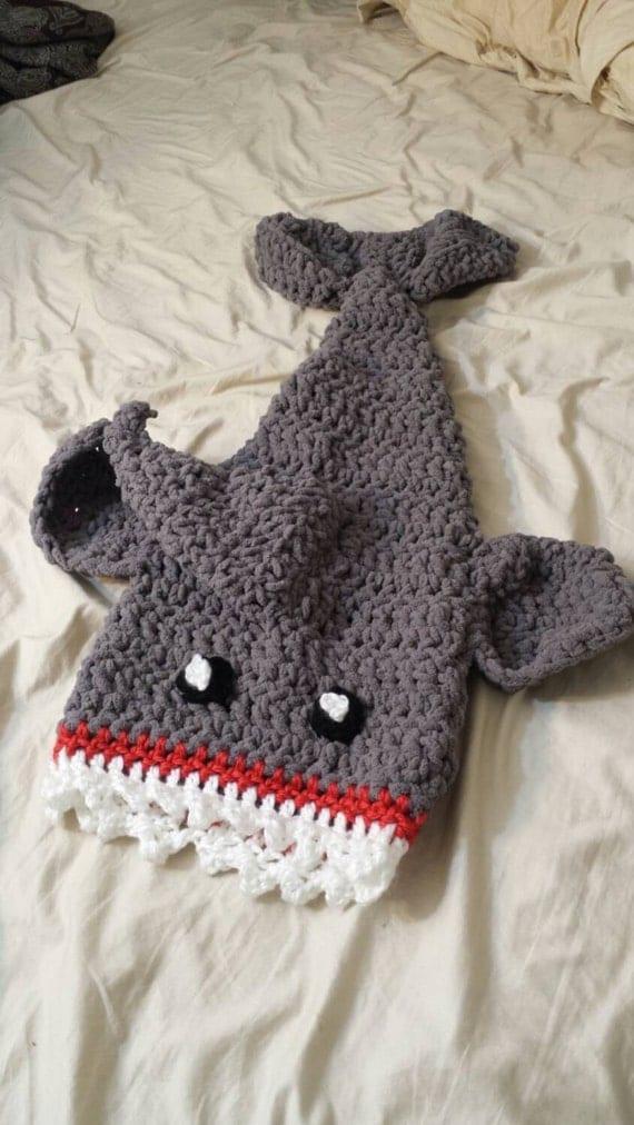 Eaten by a Shark Blanket Baby Size Preschool Size Child