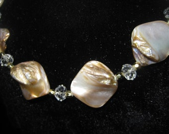 Vintage Mother of Pearl and Crystal Necklace and Earring Set