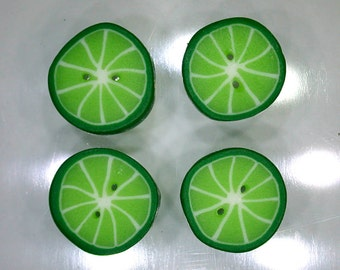 Lime Citrus Slices - handmade polymer clay buttons