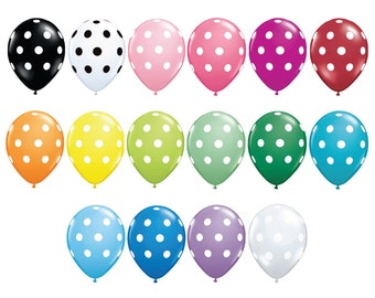 "11 inch POLKA DOT Balloons - Set of Six 11"" Balloons"